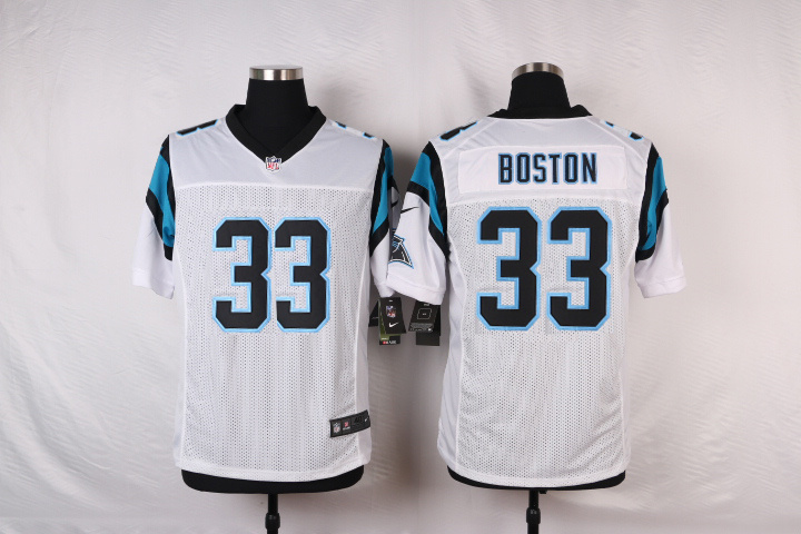 NFL Customize Carolina Panthers 33 Boston White Men Nike Elite Jerseys