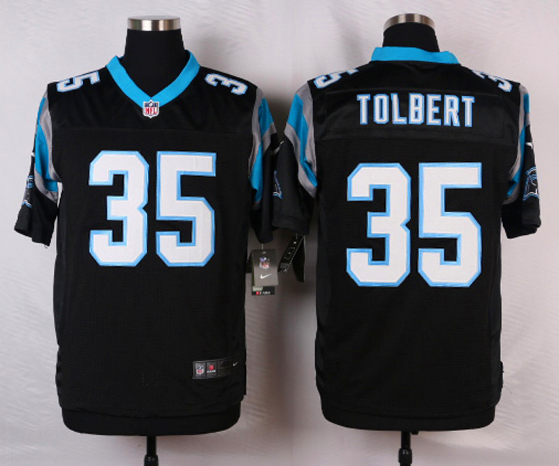 NFL Customize Carolina Panthers 35 Tolbert Black Men Nike Elite Jerseys