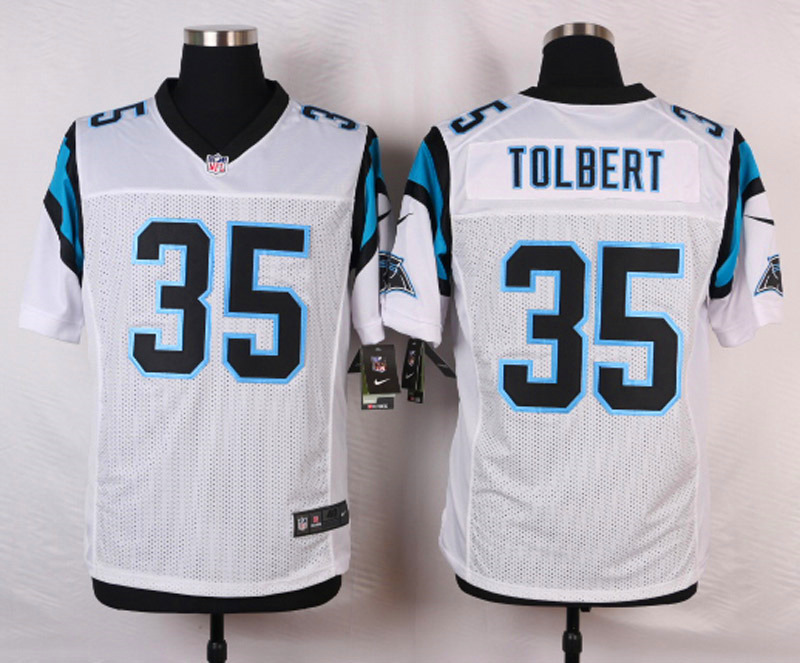 NFL Customize Carolina Panthers 35 Tolbert White Men Nike Elite Jerseys
