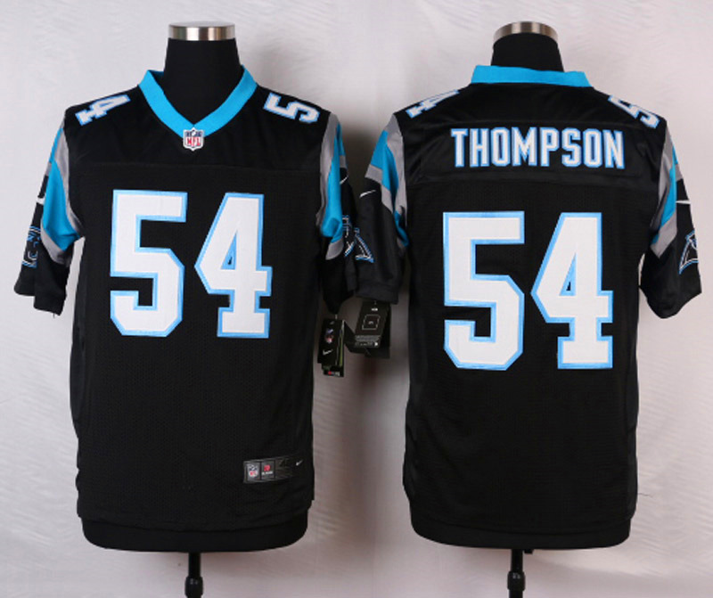 NFL Customize Carolina Panthers 54 Thompson Black 2015 Nike Elite Jersey