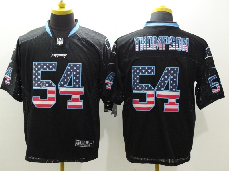 Carolina Panthers 54 Thompson Black Nike USA Flag Fashion Elite Jerseys