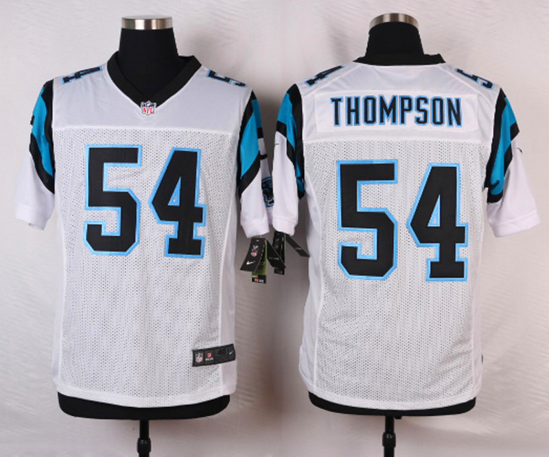 NFL Customize Carolina Panthers 54 Thompson White 2015 Nike Elite Jersey