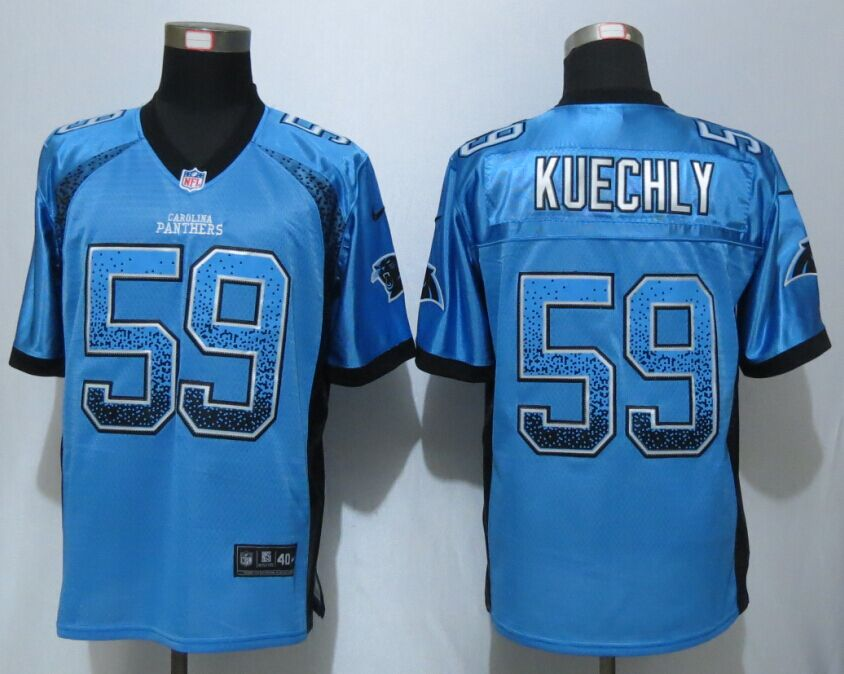 Carolina Panthers 59 Kuechly Drift Fashion Blue NEW Nike Elite Jerseys