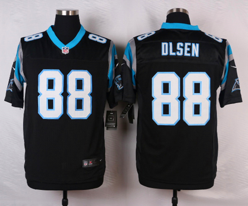 NFL Customize Carolina Panthers 88 Olsen Black Men Nike Elite Jerseys