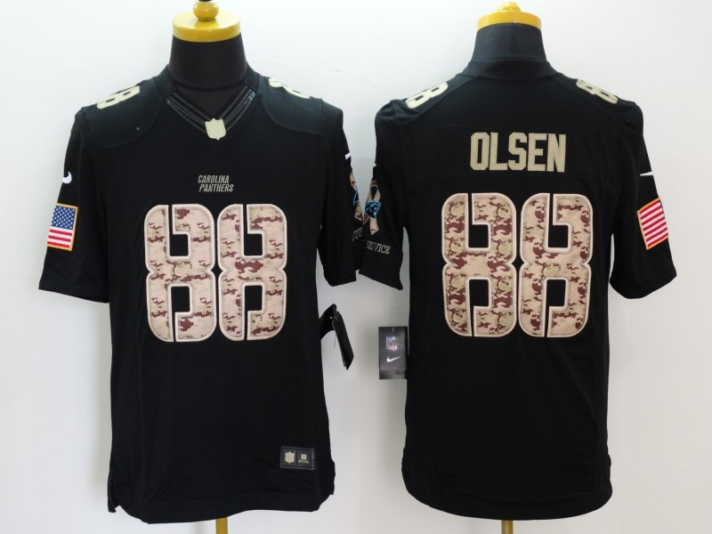 Carolina Panthers 88 Olsen Black Nike Salute TO Service Jerseys