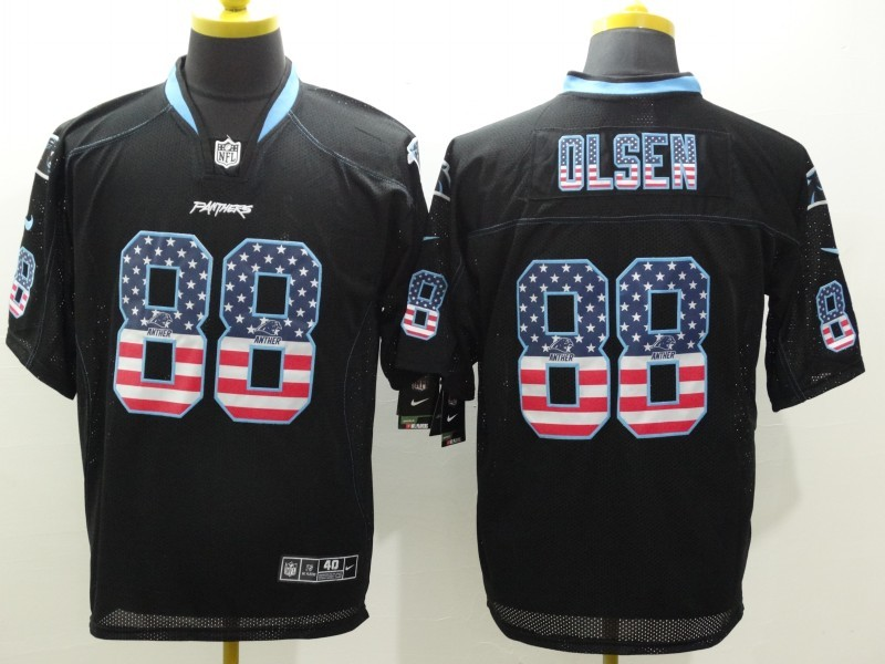 Carolina Panthers 88 Olsen Black Nike USA Flag Fashion Elite Jerseys