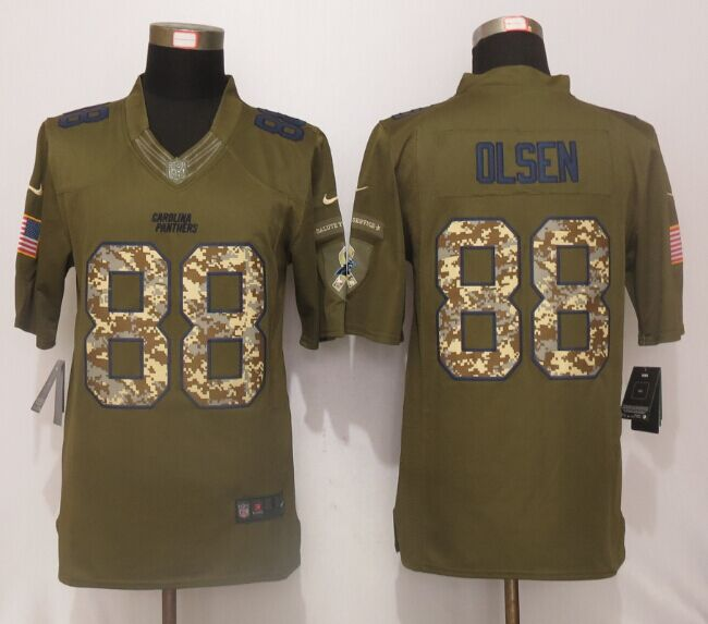 Carolina Panthers 88 Olsen Green Salute To Service New Nike Limited Jersey