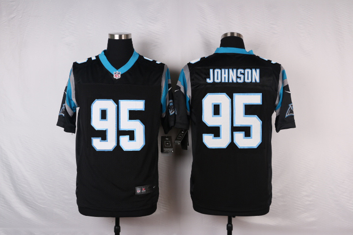 NFL Customize Carolina Panthers 95 Johnson Black 2015 Elite nike jerseys