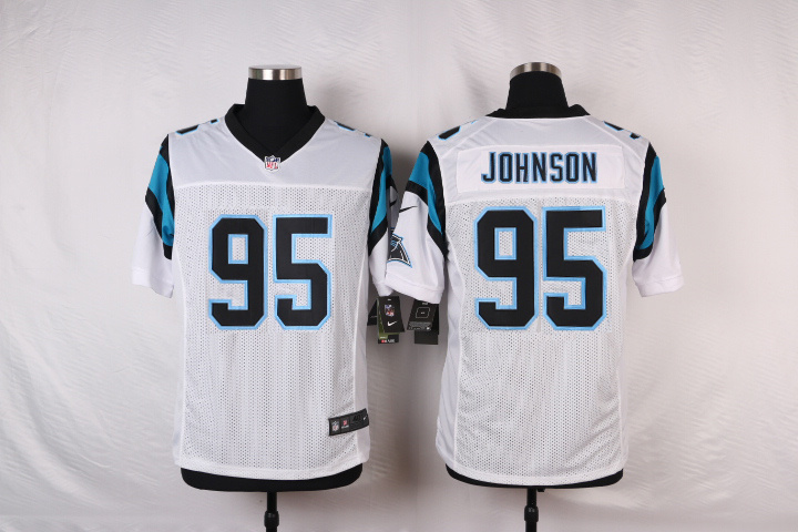 NFL Customize Carolina Panthers 95 Johnson White 2015 Elite nike jerseys