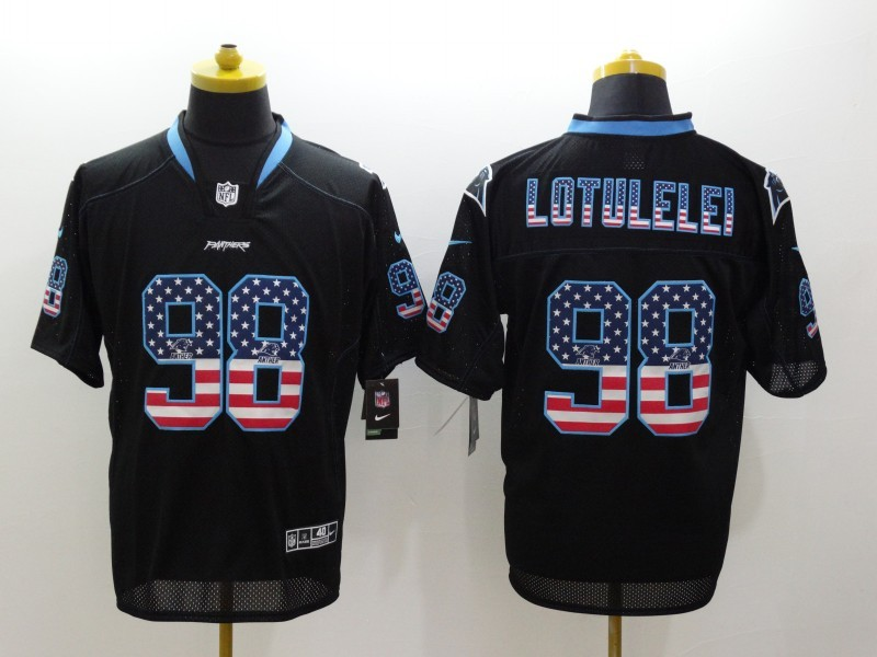 Carolina Panthers 98 Lotulelei Black Nike USA Flag Fashion Elite Jerseys