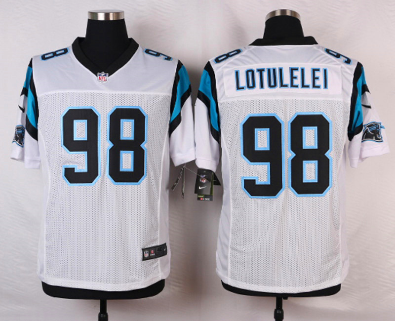 NFL Customize Carolina Panthers 98 Lotulelei White Men Nike Elite Jerseys