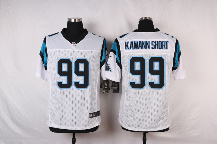 NFL Customize Carolina Panthers 99 Kawann short White Men Nike Elite Jerseys