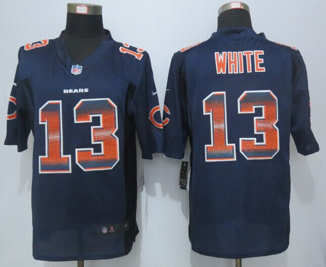 Chicago Bears 13 White Navy Blue Strobe 2015 New Nike Limited Jersey