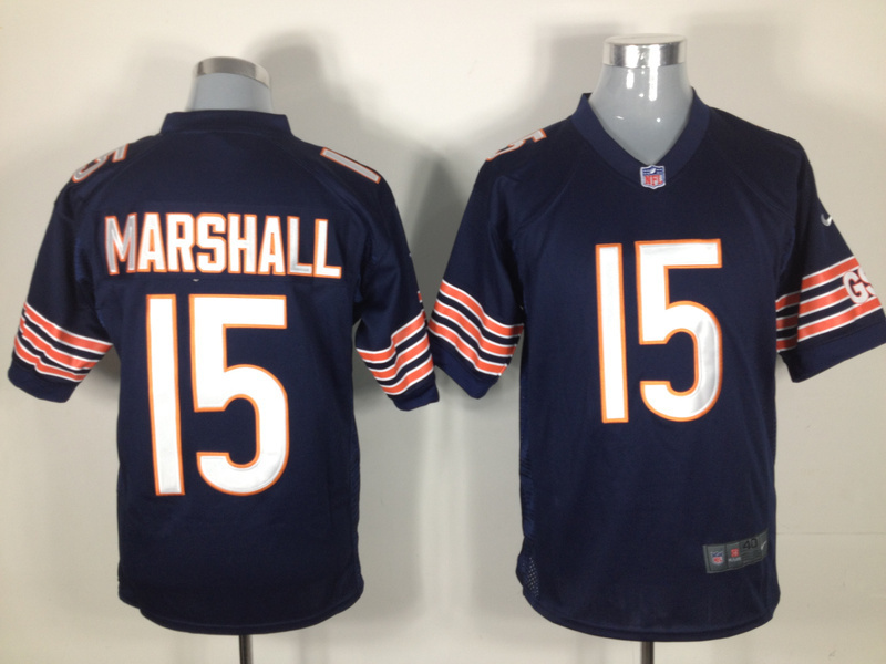 Chicago Bears 15 Marshall Blue Nike Game Jerseys