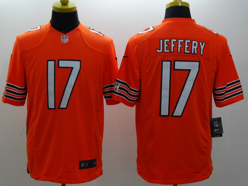 Chicago Bears 17 Jeffery Orange Nike Limited Jerseys
