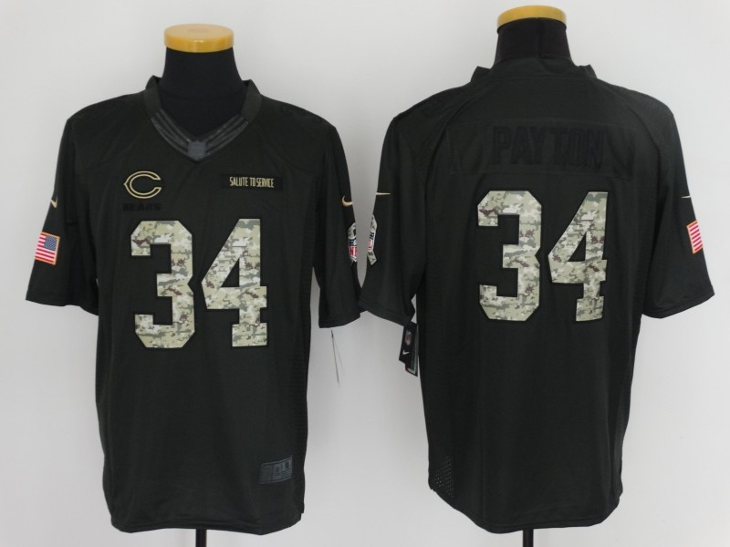 Chicago Bears 34 Payton 2016 Nike Anthracite Salute to Service Limited Jersey