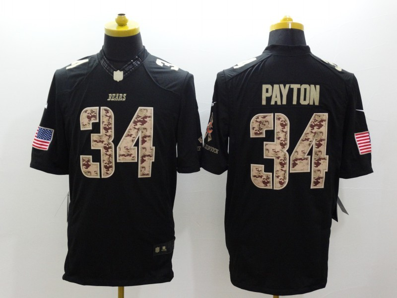 Chicago Bears 34 Payton Black Nike Salute TO Service Jerseys
