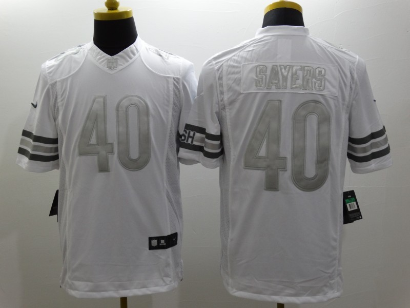 Chicago Bears 40 Sayers Platinum White Nike Limited Jerseys
