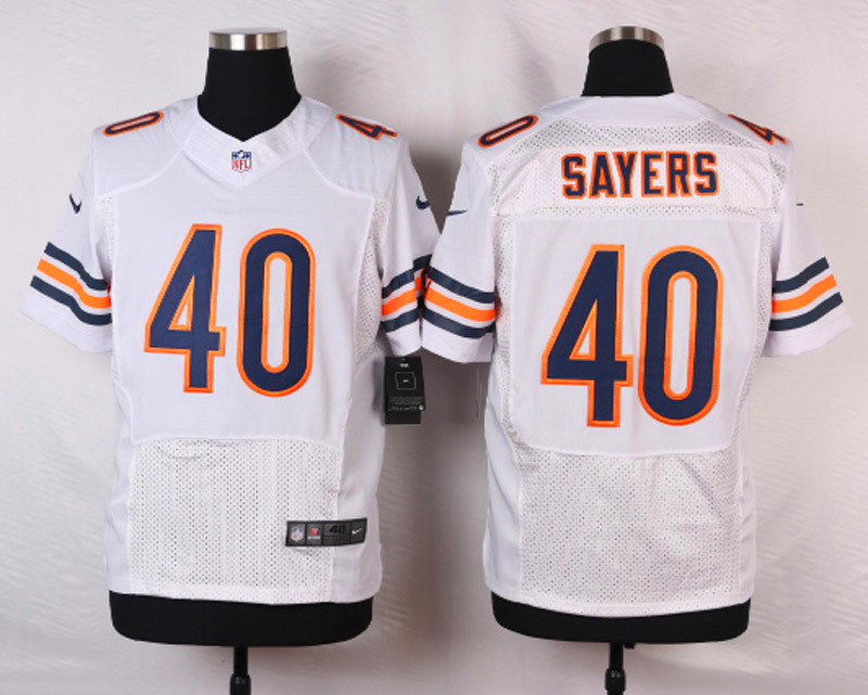 NFL Customize Chicago Bears 40 Sayers White Men Nike Elite Jerseys