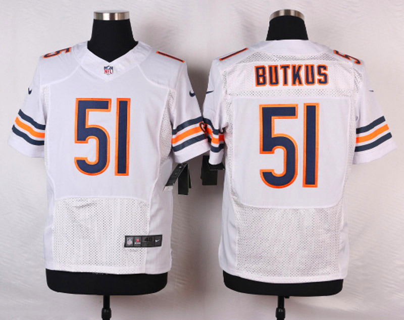 Chicago Bears 51 Butkus White Men Nike Elite Jerseys