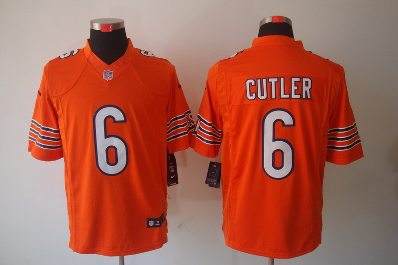 Chicago Bears 6 Cutler Orange Nike Limited Jerseys