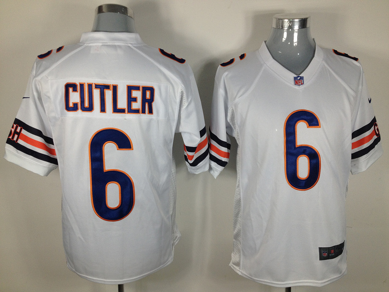 Chicago Bears 6 Cutler White Nike Game Jersey