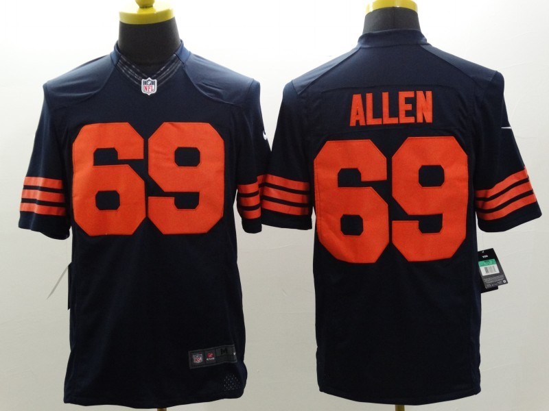 Chicago Bears 69 Allen Blue Orange Nike Limited Jerseys