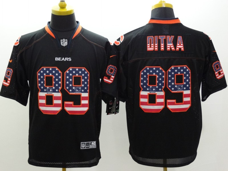 Chicago Bears 89 Ditka Black Nike USA Flag Fashion Elite Jerseys