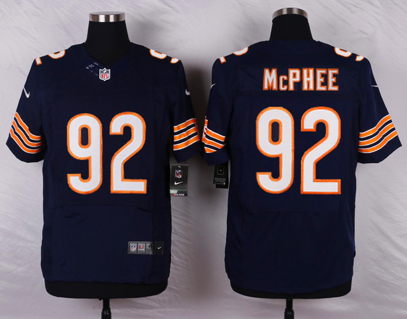 NFL Customize Chicago Bears 92 Mcphee Blue Men Nike Elite Jerseys