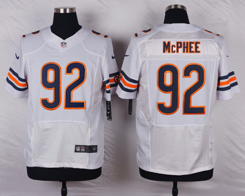 NFL Customize Chicago Bears 92 Mcphee White Men Nike Elite Jerseys