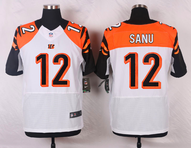NFL Customize Cincinnati Bengals 12 Sanu White Men Nike Elite Jerseys
