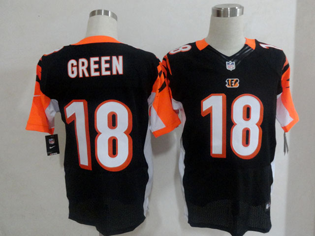 Cincinnati Bengals 18 Green Black Nike Elite Jersey