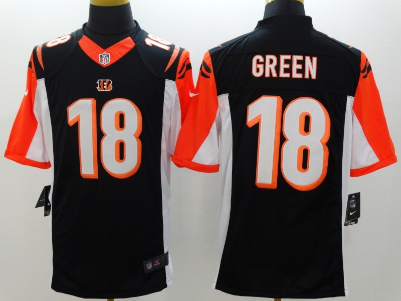 Cincinnati Bengals 18 Green Black Nike Limited Jerseys