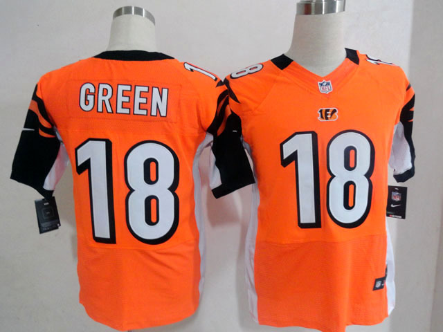 Cincinnati Bengals 18 Green Orange Nike Elite Jersey