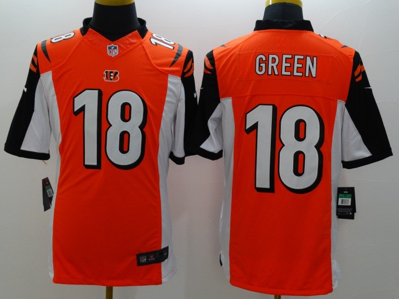 Cincinnati Bengals 18 Green Orange Nike Limited Jerseys