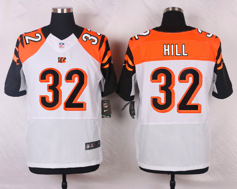 NFL Customize Cincinnati Bengals 32 Hill White Men Nike Elite Jerseys