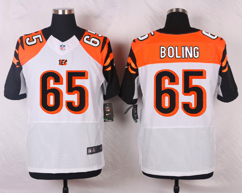NFL Customize Cincinnati Bengals 65 Boling White Men Nike Elite Jerseys