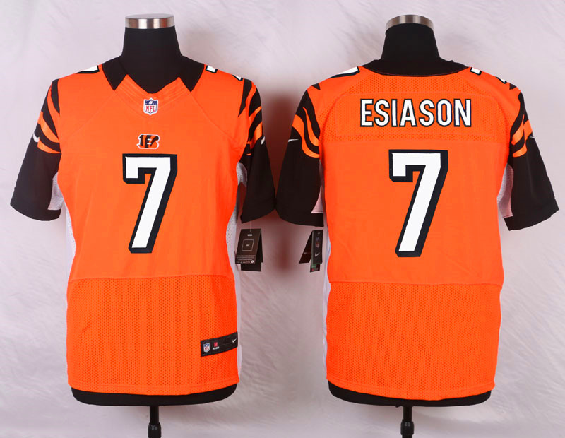 NFL Customize Cincinnati Bengals 7 Boomer Esiason Orange Men Nike Elite Jerseys