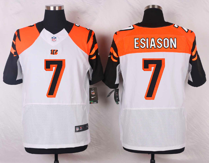 NFL Customize Cincinnati Bengals 7 Boomer Esiason White Men Nike Elite Jerseys