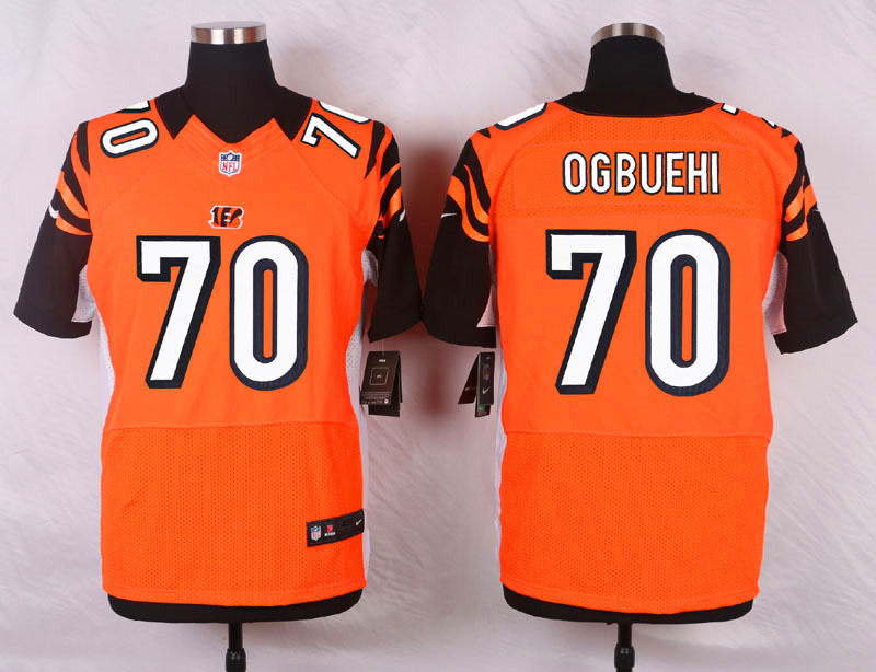 NFL Customize Cincinnati Bengals 70 Ogbuehi Orange Men Nike Elite Jerseys