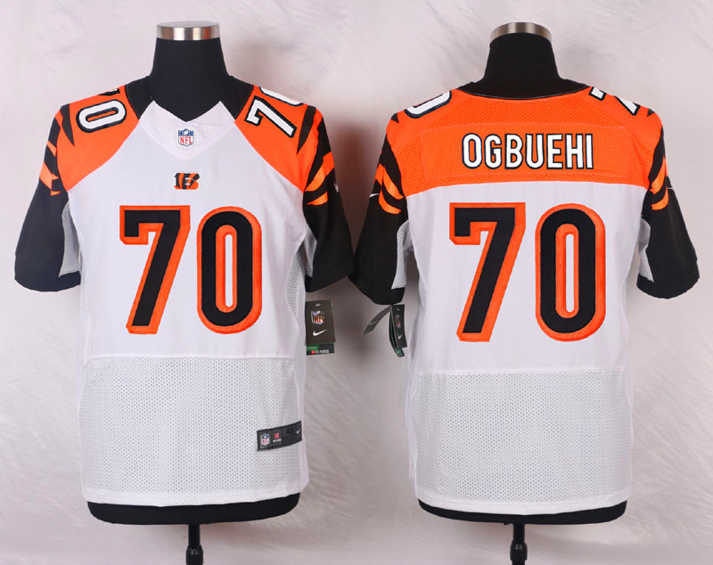 NFL Customize Cincinnati Bengals 70 Ogbuehi White Men Nike Elite Jerseys