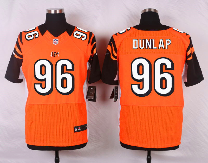NFL Customize Cincinnati Bengals 96 Dunlap Orange Men Nike Elite Jerseys