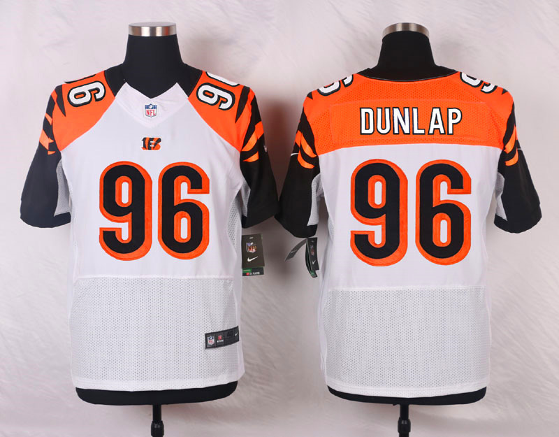 NFL Customize Cincinnati Bengals 96 Dunlap White Men Nike Elite Jerseys