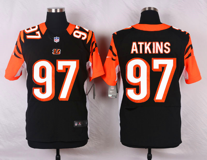 NFL Customize Cincinnati Bengals 97 Geno Atkins Black Men Nike Elite Jerseys