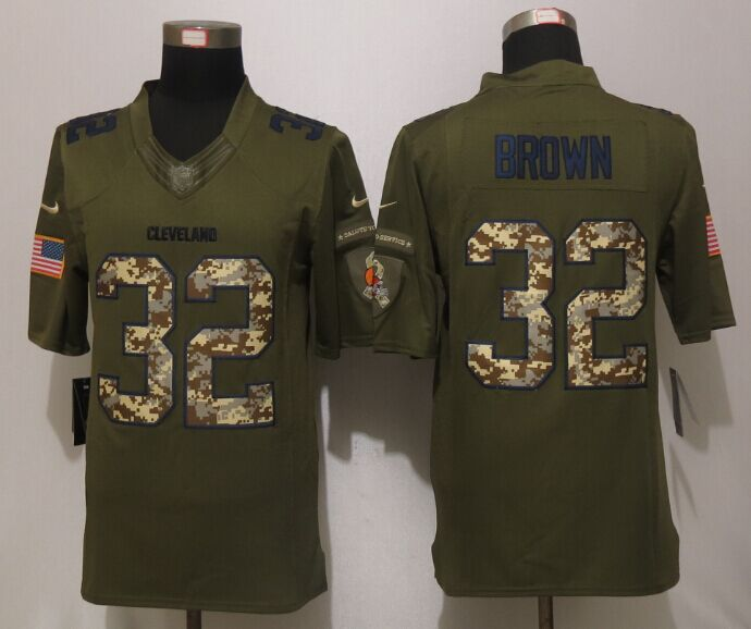 Cleveland Browns 32 Brown Green Salute To Service New Nike Limited Jersey