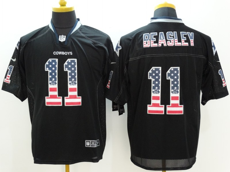 Dallas Cowboys 11 Beasley Black Nike USA Flag Fashion Elite Jerseys