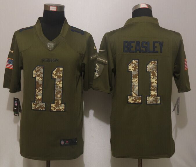 Dallas Cowboys 11 Beasley Green Salute To Service New Nike Limited Jersey