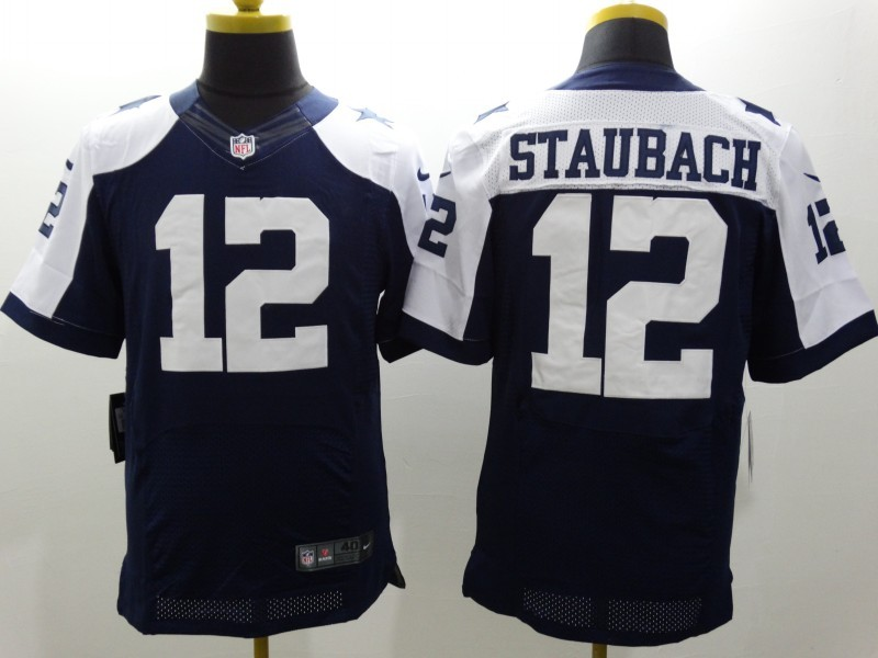 Dallas Cowboys 12 Staubach Blue Thanksgiving Nike Elite Jerseys