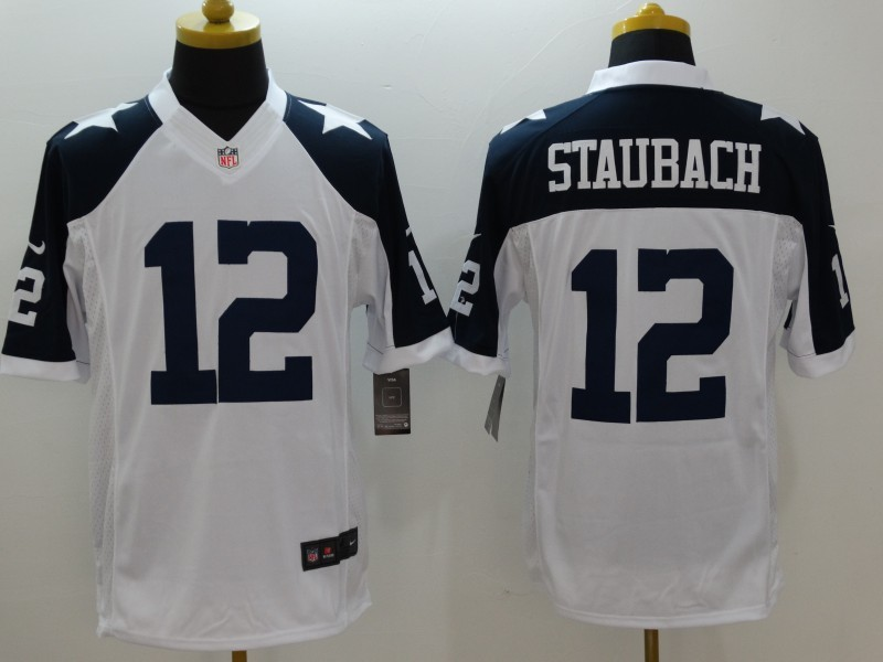 Dallas Cowboys 12 Staubach White Thanksgiving 2015 Nike Limited Jersey.