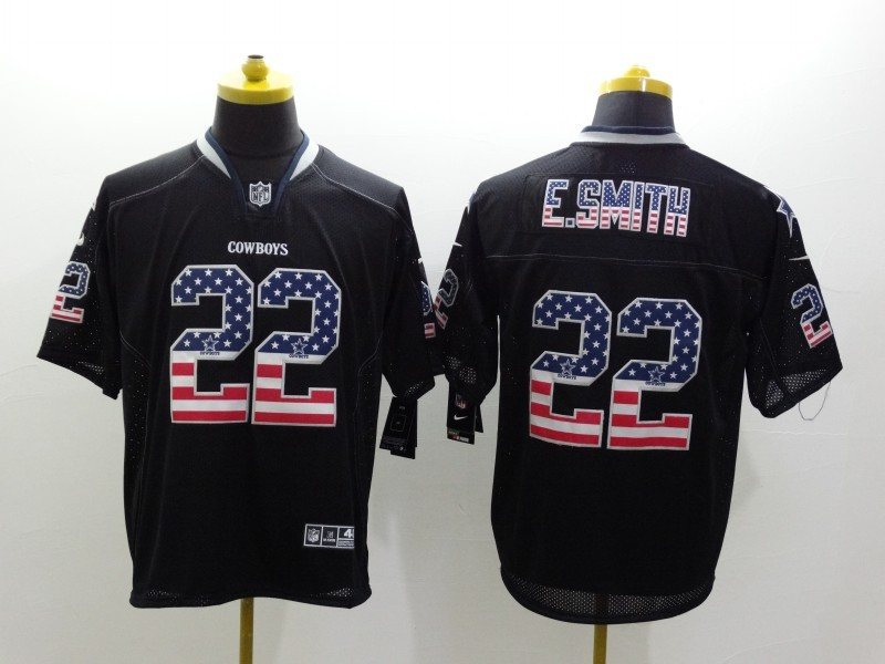 Dallas Cowboys 22 E-Smith Black Nike USA Flag Fashion Elite Jerseys